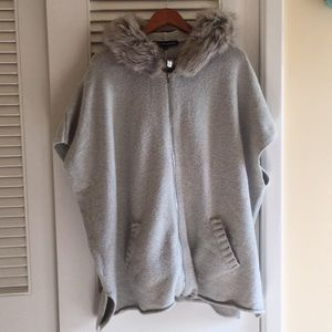 French Connection Fur Hood Cape Sweater